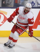 Jakub Kindl of the Detroit Red Wings skates during warm up prior to NHL game action against the Toronto Maple Leafs March 29 2014 at the Air Canada...