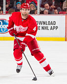 Jakub Kindl of the Detroit Red Wings skates up ice with the puck during an NHL game against the San Jose Sharks at Joe Louis Arena on November 13...