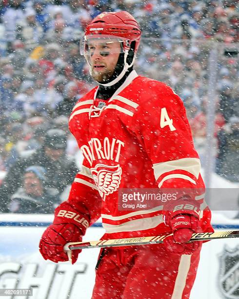 Jakub Kindl of the Detroit Red Wings skates up the ice during NHL game action against the Toronto Maple Leafs during the 2014 Bridgestone NHL Winter...