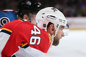Jakub Kindl of the Florida Panthers awaits a face off against the Colorado Avalanche at Pepsi Center on March 3 2016 in Denver Colorado The Avalanche...