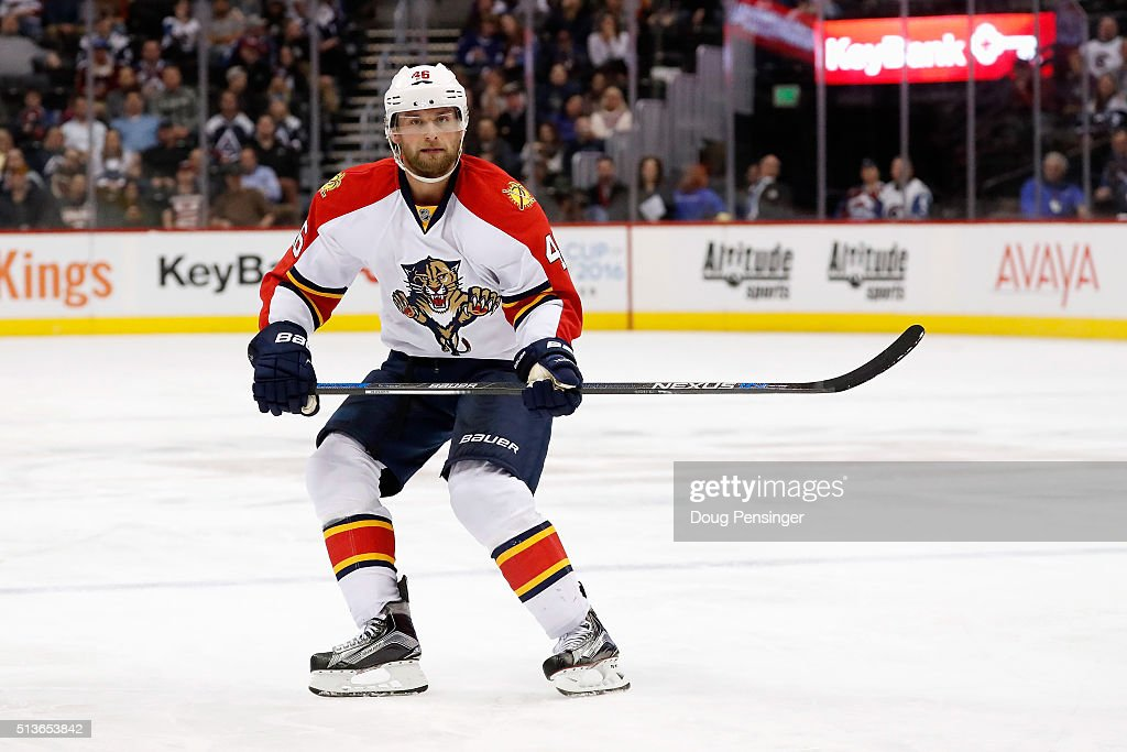 <a gi-track='captionPersonalityLinkClicked' href=/galleries/search?phrase=Jakub+Kindl&family=editorial&specificpeople=716743 ng-click='$event.stopPropagation()'>Jakub Kindl</a> #46 of the Florida Panthers skates against the Colorado Avalanche at Pepsi Center on March 3, 2016 in Denver, Colorado. The Avalanche defeated the Panthers 3-2.