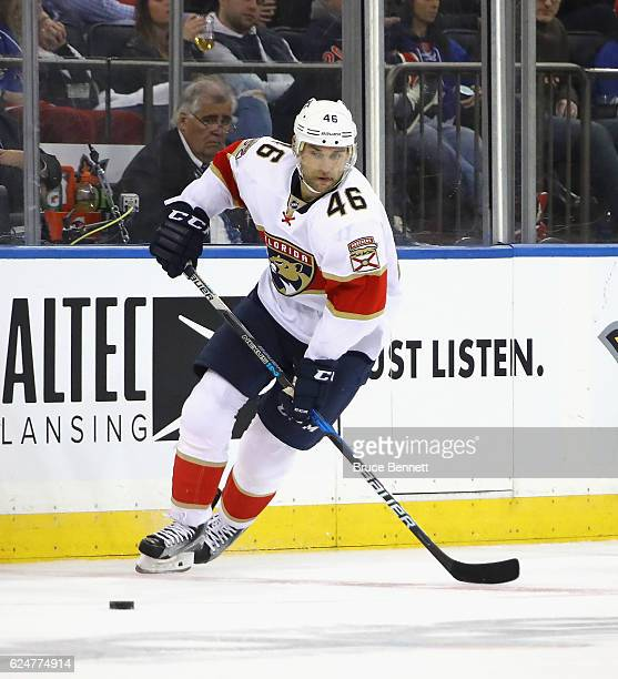 Jakub Kindl of the Florida Panthers skates against the New York Rangers at Madison Square Garden on November 20 2016 in New York City The Panthers...
