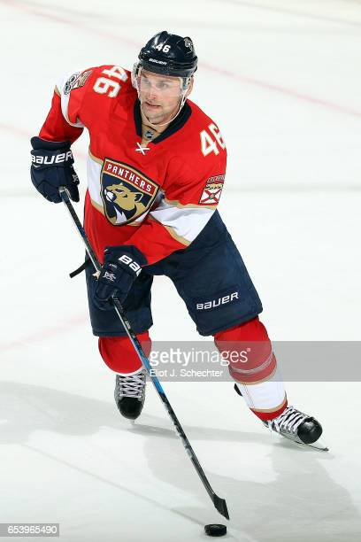 Jakub Kindl of the Florida Panthers skates with the puck against the Toronto Maple Leafs at the BBT Center on March 14 2017 in Sunrise Florida