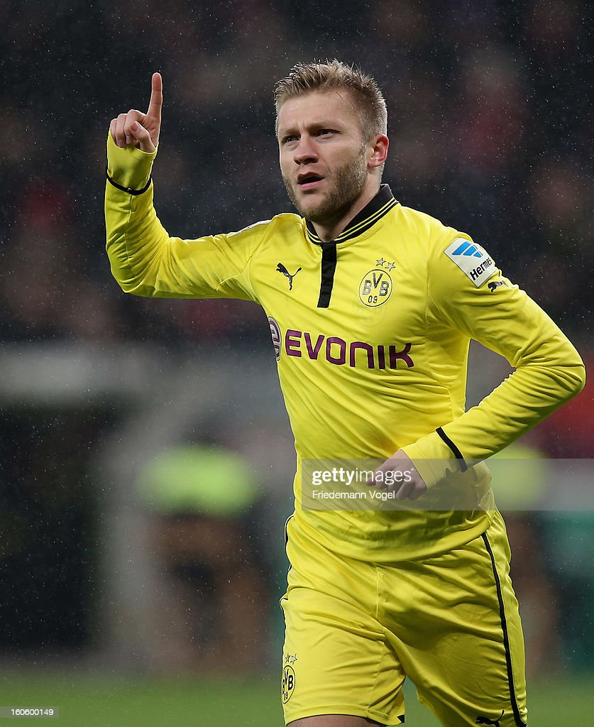 Jakub Kuba Blaszczykowski of Dortmund celebrates scoring the second goal during the Bundesliga match between Bayer 04 Leverkusen and Borussia Dortmund at BayArena on February 3, 2013 in Leverkusen, Germany.
