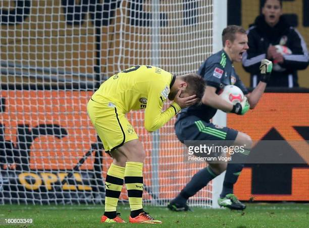 Jakub Kuba Blaszczykowski of Dortmund reacts after missing a penalty against Bernd Leno of Leverkusen during the Bundesliga match between Bayer 04...