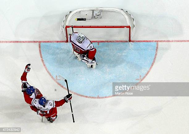 Jakub Nakladal and Jan Kolar of Czech Republic celebrate victory after the IIHF World Championship group A match between Czech Republic and France at...