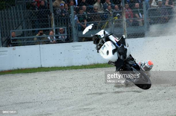 Jakub Smrz of Czech Republic and Team PATA BG Racing crashed out during the Superpole of the Superbike World Championship round five on May 8 2010 in...