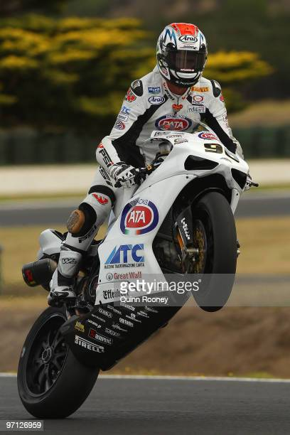 Jakub Smrz of the Czech Republic and Team PATA BG Racing pops a mono during Superpole for round one of the Superbike World Championship at Phillip...