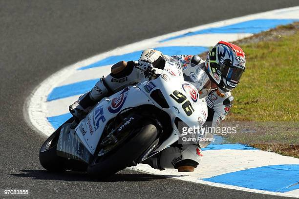 Jakub Smrz of the Czech Republic and Team PATA BG Racing rounds the bend during practice ahead of round one for the Superbike World Championship at...