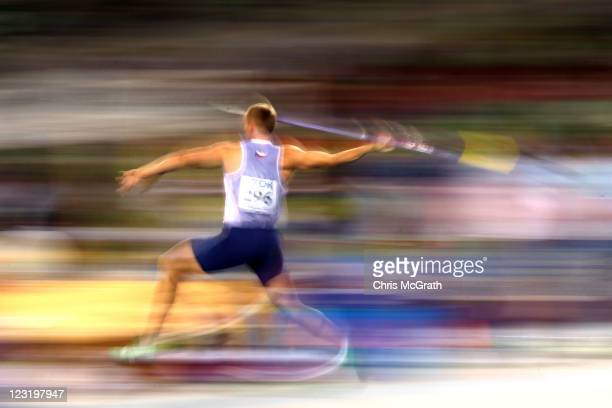 Jakub Vadlejch of Czech Republic competes in the men's javelin throw qualification round during day six of the 13th IAAF World Athletics...