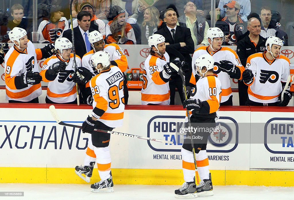 <a gi-track='captionPersonalityLinkClicked' href=/galleries/search?phrase=Jakub+Voracek&family=editorial&specificpeople=4111797 ng-click='$event.stopPropagation()'>Jakub Voracek</a> #93 and <a gi-track='captionPersonalityLinkClicked' href=/galleries/search?phrase=Brayden+Schenn&family=editorial&specificpeople=4782304 ng-click='$event.stopPropagation()'>Brayden Schenn</a> #10 of the Philadelphia Flyers celebrate a first period goal against the Winnipeg Jets with teammates at the MTS Centre on February 12, 2013 in Winnipeg, Manitoba, Canada.