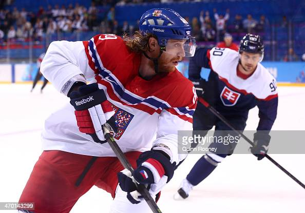 Jakub Voracek of Czech Republic handles the puck against Slovakia during the Men's Qualification Playoff Game on day 11 of the Sochi 2014 Winter...