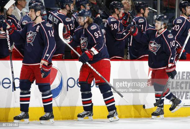 Jakub Voracek of the Columbus Blue Jackets celebrates his first period goal with teammates while playing the Edmonton Oilers on March 15 2010 at...