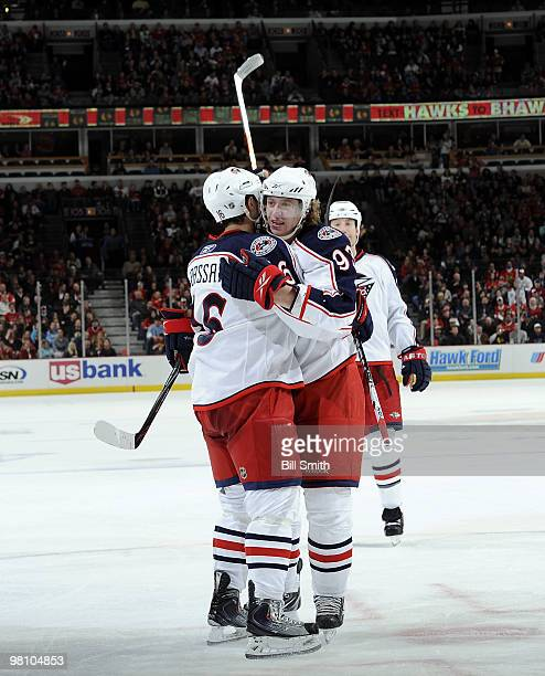 Jakub Voracek of the Columbus Blue Jackets hugs teammate Derick Brassard after scoring against the Chicago Blackhawks on March 28 2010 at the United...