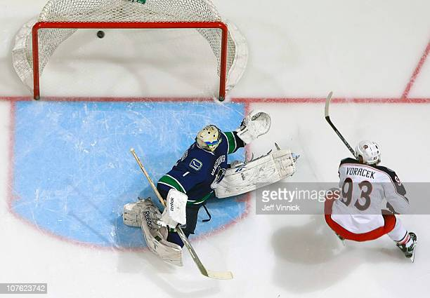 Jakub Voracek of the Columbus Blue Jackets scores on Roberto Luongo of the Vancouver Canucks during their game at Rogers Arena on December 15 2010 in...