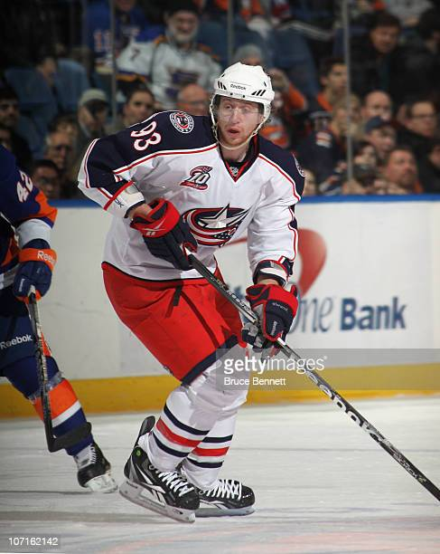 Jakub Voracek of the Columbus Blue Jackets skates against the New York Islanders at the Nassau Coliseum on November 24 2010 in Uniondale New York