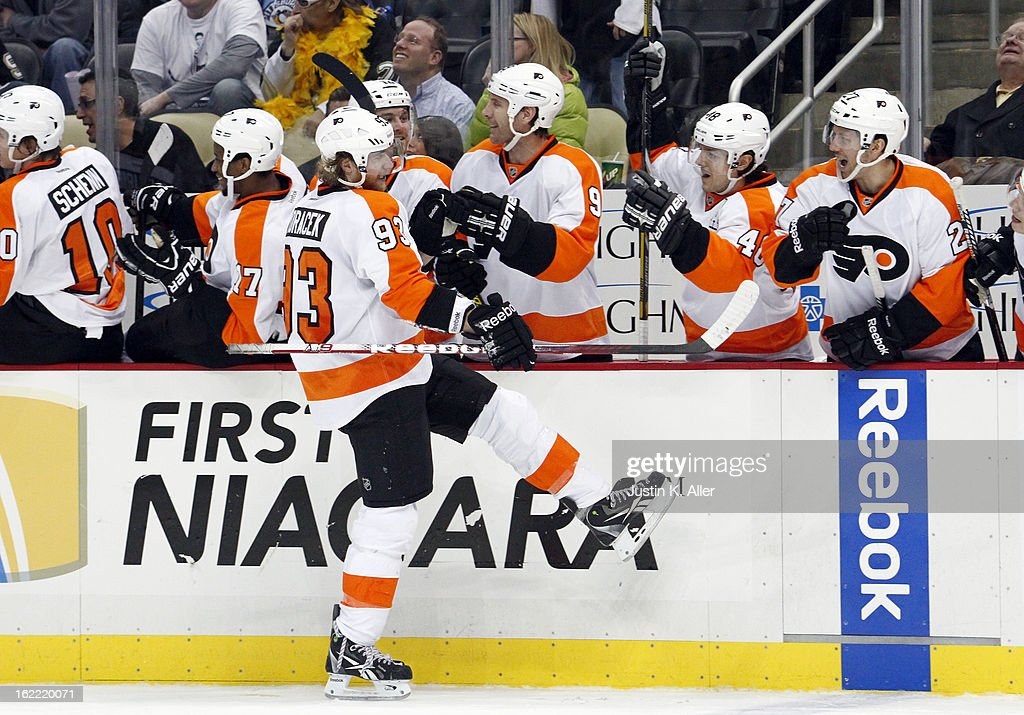 Jakub Voracek #93 of the Philadelphia Flyers celebrates after scoring his third goal of the game against the Pittsburgh Penguins during the game at Consol Energy Center on February 20, 2013 in Pittsburgh, Pennsylvania. The Flyers defeated the Penguins 6-5.