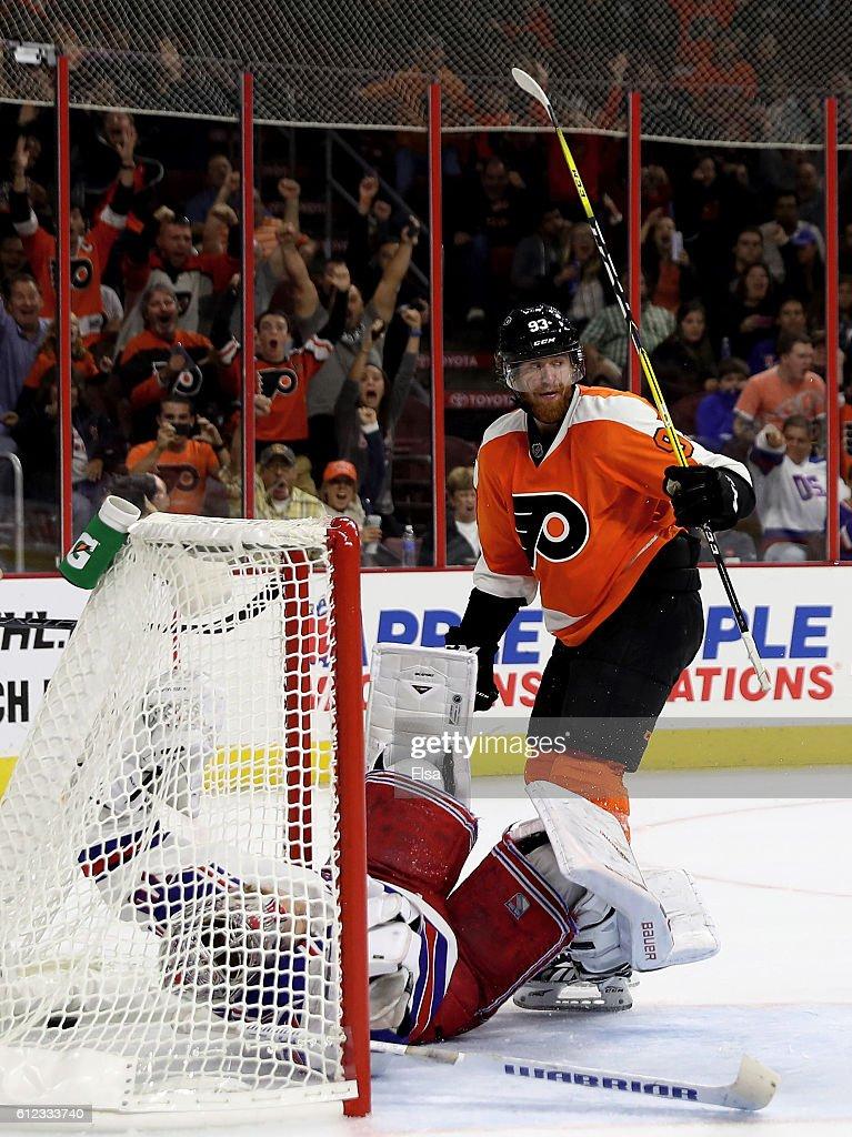 Jakub Voracek #93 of the Philadelphia Flyers celebrates his game winning goal as Mackenzie Skapski #70 of the New York Rangers defends during a preseason game on October 3, 2016 at Wells Fargo Center in Philadelphia, Pennsylvania.