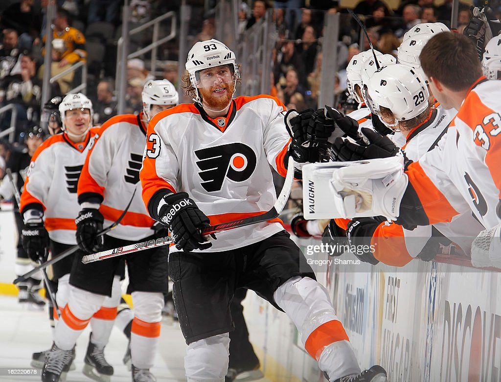 Jakub Voracek #93 of the Philadelphia Flyers celebrates his game-winning goal with the bench during the third period against the Pittsburgh Penguins on February 20, 2013 at Consol Energy Center in Pittsburgh, Pennsylvania. Philadelphia won the game 6-5.