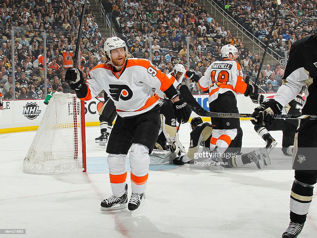 Jakub Voracek #93 of the Philadelphia Flyers celebrates his goal during the first period against the Pittsburgh Penguins on April 12, 2014 at Consol Energy Center in Pittsburgh, Pennsylvania.