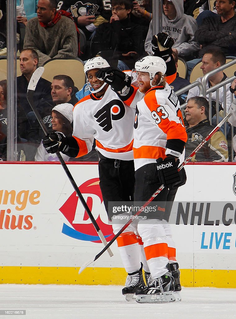 Jakub Voracek #93 of the Philadelphia Flyers celebrates his goal with Wayne Simmonds #17 during the second period against the Pittsburgh Penguins on February 20, 2013 at Consol Energy Center in Pittsburgh, Pennsylvania.