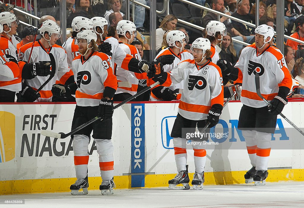 Jakub Voracek #93 of the Philadelphia Flyers celebrates his second goal of the game with the bench during the second period against the Pittsburgh Penguins on April 12, 2014 at Consol Energy Center in Pittsburgh, Pennsylvania.