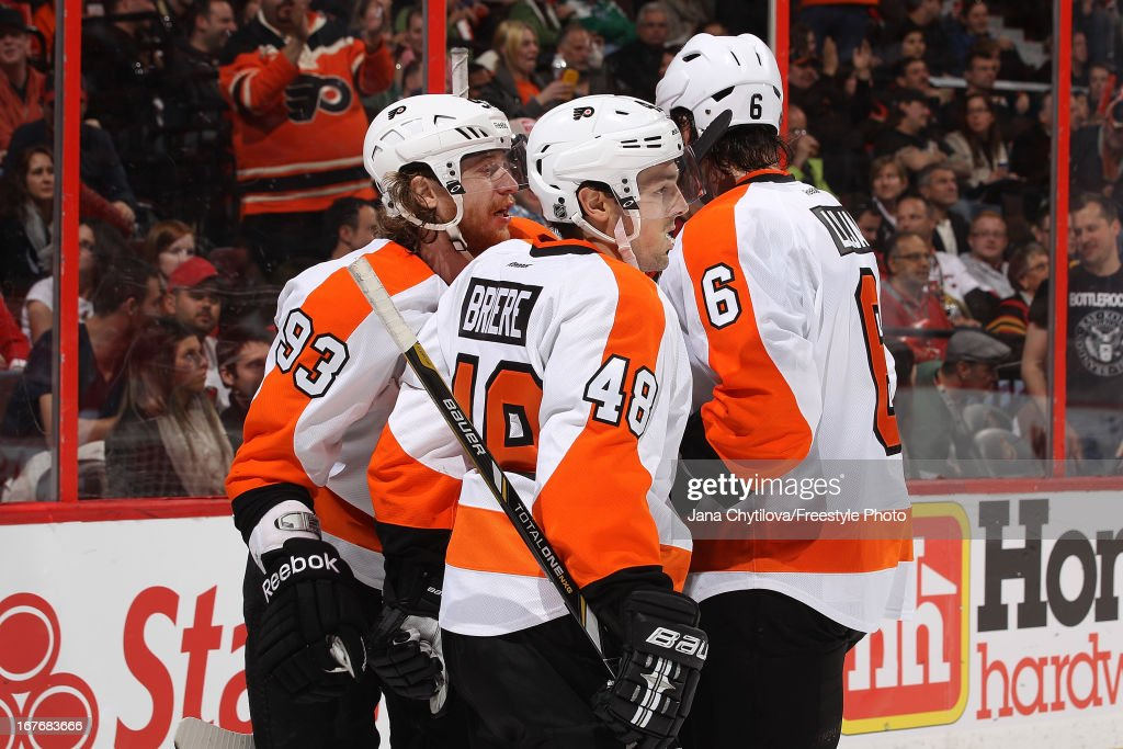 <a gi-track='captionPersonalityLinkClicked' href=/galleries/search?phrase=Jakub+Voracek&family=editorial&specificpeople=4111797 ng-click='$event.stopPropagation()'>Jakub Voracek</a> #93 of the Philadelphia Flyers celebrates his third period game winning goal with team mates Danny Briere #48 and <a gi-track='captionPersonalityLinkClicked' href=/galleries/search?phrase=Andreas+Lilja&family=editorial&specificpeople=210774 ng-click='$event.stopPropagation()'>Andreas Lilja</a> #6, during an NHL game against the Ottawa Senators, at Scotiabank Place, on April 27, 2013 in Ottawa, Ontario, Canada.