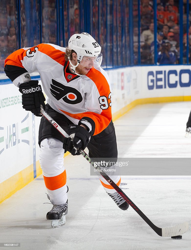 Jakub Voracek #93 of the Philadelphia Flyers controls the puck during the second period of an NHL game against the Tampa Bay Lightning at the Tampa Bay Times Forum on January 27, 2013 in Tampa, Florida.