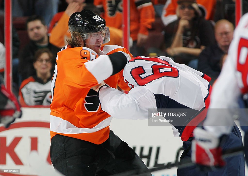 <a gi-track='captionPersonalityLinkClicked' href=/galleries/search?phrase=Jakub+Voracek&family=editorial&specificpeople=4111797 ng-click='$event.stopPropagation()'>Jakub Voracek</a> #93 of the Philadelphia Flyers fights Steve Oleksy #61 of the Washington Capitals on March 31, 2013 at the Wells Fargo Center in Philadelphia, Pennsylvania. The fight was Voracek's first of his NHL career. The Flyers went on to defeat the Capitals 5-4 in overtime.