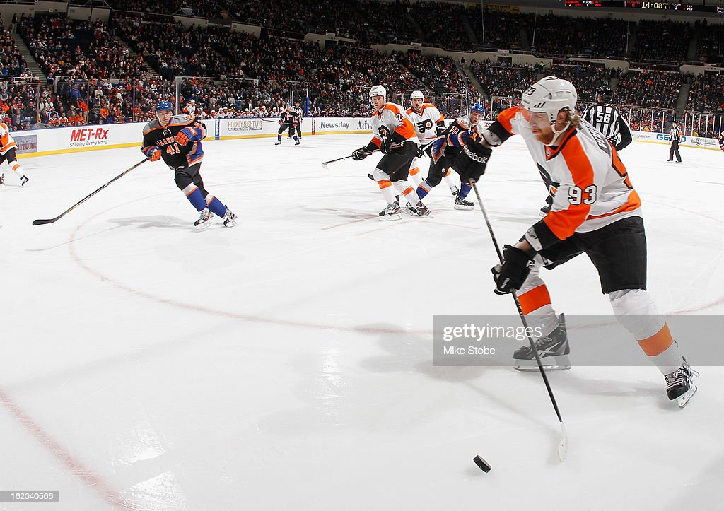 Jakub Voracek #93 of the Philadelphia Flyers handles the puck during the game against the New York Islanders at Nassau Veterans Memorial Coliseum on February 18, 2013 in Uniondale, New York.