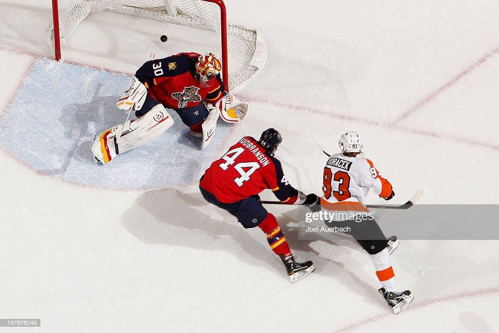 Jakub Voracek of the Philadelphia Flyers scores a goal past goaltender Scott Clemmensen of the Florida Panthers on January 24 2012 at the...