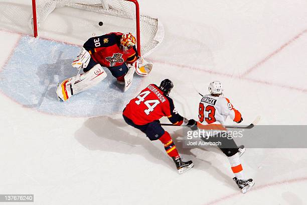Jakub Voracek of the Philadelphia Flyers scores a goal past goaltender Scott Clemmensen of the Florida Panthers on January 24 2012 at the...
