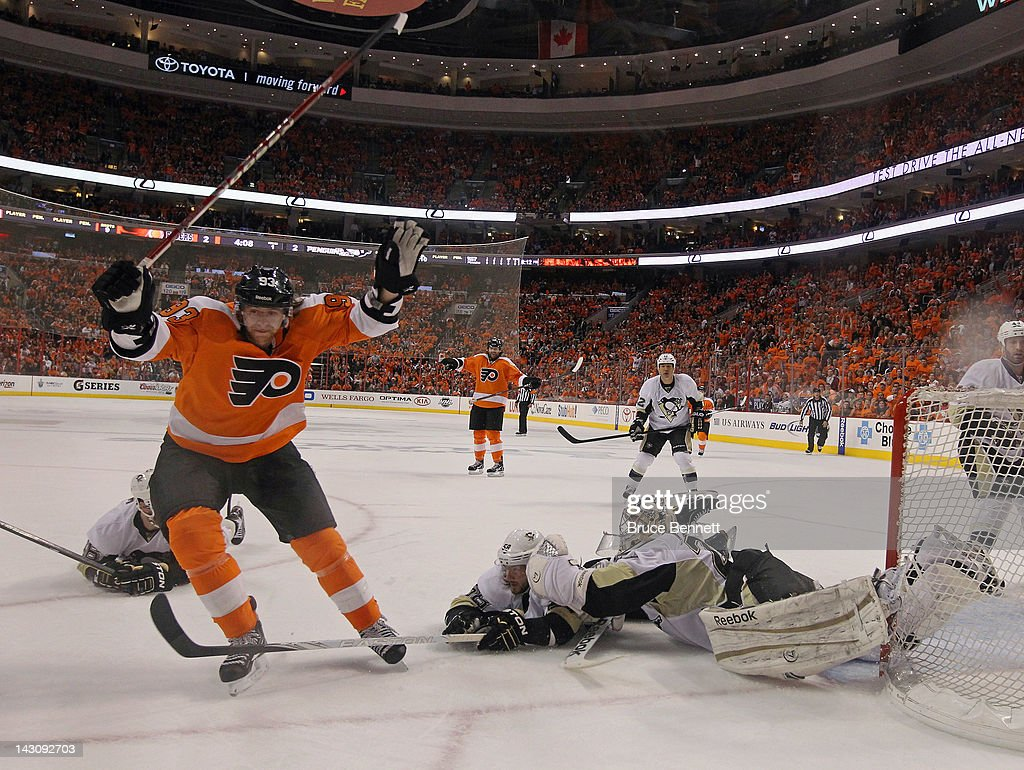 Jakub Voracek #93 of the Philadelphia Flyers scores a powerplay goal at 15:52 of the first period against the Pittsburgh Penguins in Game Four of the Eastern Conference Quarterfinals during the 2012 NHL Stanley Cup Playoffs at Wells Fargo Center on April 18, 2012 in Philadelphia, Pennsylvania. The Penguins defeated the Flyers 10-3.