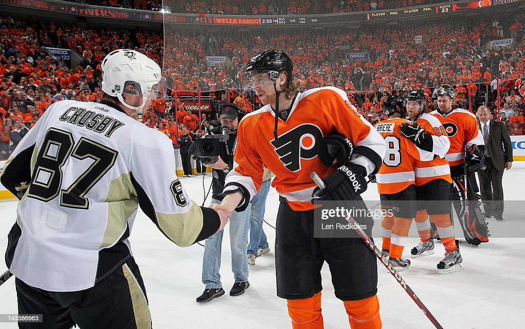 Jakub Voracek #93 of the Philadelphia Flyers shakes hands with Sidney Crosby #87 of the Pittsburgh Penguins after Game Six of the Eastern Conference Quarterfinals during the 2012 NHL Stanley Cup Playoffs on April 22, 2012 at the Wells Fargo Center in Philadelphia, Pennsylvania. The Flyers defeated the Penguins 5-1 to win this series in six games.