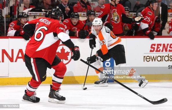 Jakub Voracek of the Philadelphia Flyers skates against Patrick Wiercioch of the Ottawa Senators during an NHL game at Canadian Tire Centre on...