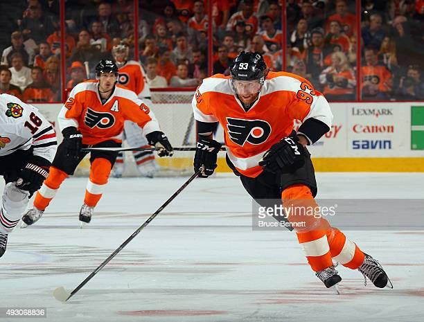 Jakub Voracek of the Philadelphia Flyers skates against the Chicago Blackhawks at the Wells Fargo Center on October 14 2015 in Philadelphia...