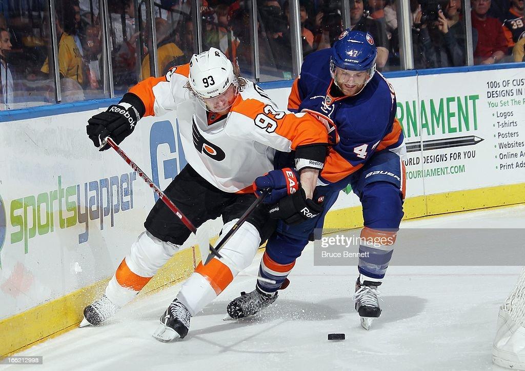 Jakub Voracek #93 of the Philadelphia Flyers skates against the New York Islanders at the Nassau Veterans Memorial Coliseum on April 9, 2013 in Uniondale, New York. The Islanders defeated the Flyers 4-1.