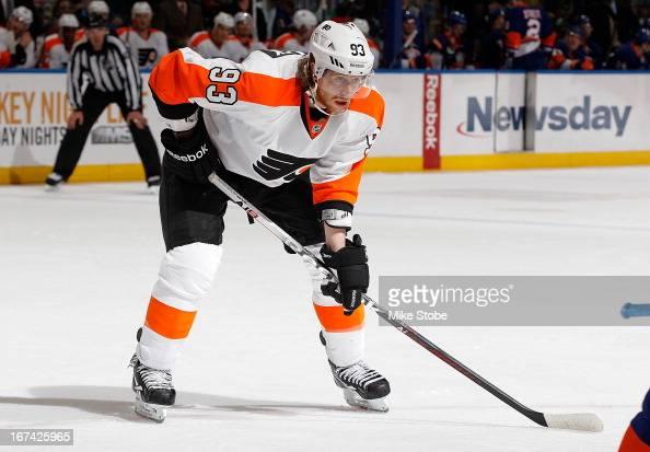 Jakub Voracek of the Philadelphia Flyers skates against the New York Islanders at Nassau Veterans Memorial Coliseum on April 9 2013 in Uniondale New...