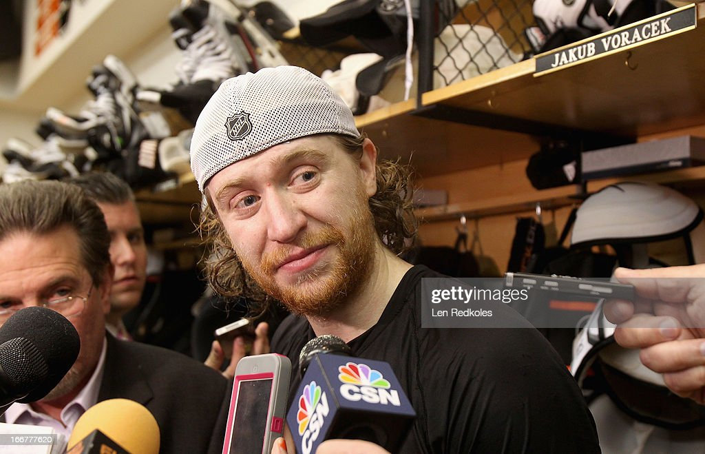 <a gi-track='captionPersonalityLinkClicked' href=/galleries/search?phrase=Jakub+Voracek&family=editorial&specificpeople=4111797 ng-click='$event.stopPropagation()'>Jakub Voracek</a> #93 of the Philadelphia Flyers speaks to the media after defeating the New York Rangers 4-2 on April 16, 2013 at the Wells Fargo Center in Philadelphia, Pennsylvania.
