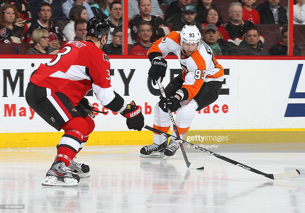 <a gi-track='captionPersonalityLinkClicked' href=/galleries/search?phrase=Jakub+Voracek&family=editorial&specificpeople=4111797 ng-click='$event.stopPropagation()'>Jakub Voracek</a> #93 of the Philadelphia Flyers stickhandles the puck against <a gi-track='captionPersonalityLinkClicked' href=/galleries/search?phrase=Marc+Methot&family=editorial&specificpeople=2216900 ng-click='$event.stopPropagation()'>Marc Methot</a> #3 of the Ottawa Senators on April 27, 2013 at Scotiabank Place in Ottawa, Ontario, Canada.