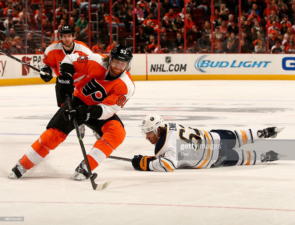 <a gi-track='captionPersonalityLinkClicked' href=/galleries/search?phrase=Jakub+Voracek&family=editorial&specificpeople=4111797 ng-click='$event.stopPropagation()'>Jakub Voracek</a> #93 of the Philadelphia Flyers takes the puck from Tyler Ennis #63 of the Buffalo Sabres at Wells Fargo Center on April 6, 2014 in Philadelphia, Pennsylvania.The Philadelphia Flyers defeated the Buffalo Sabres 5-2.