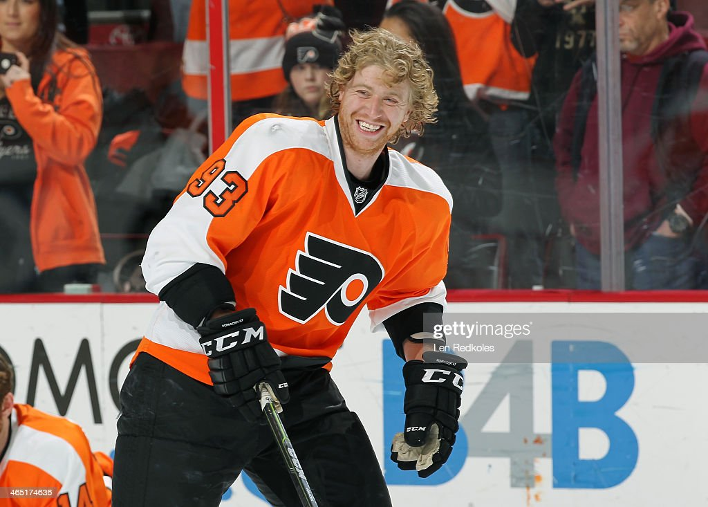 Jakub Voracek of the Philadelphia Flyers warms up prior to his game against the New York Rangers on February 28 2015 at the Wells Fargo Center in...
