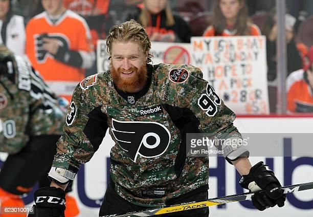 ... Jakub Voracek of the Philadelphia Flyers wearing a camouflage jersey in  honor of Military Appreciation Night ... aca496fc7