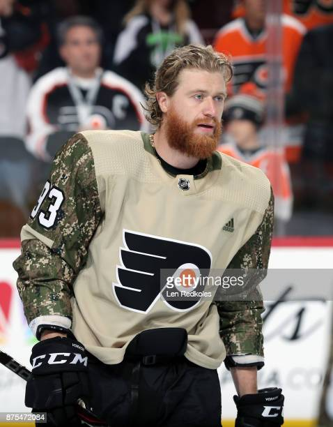 Jakub Voracek of the Philadelphia Flyers wearing a camouflage jersey in honor of Military Appreciation night warms up against the Minnesota Wild on...