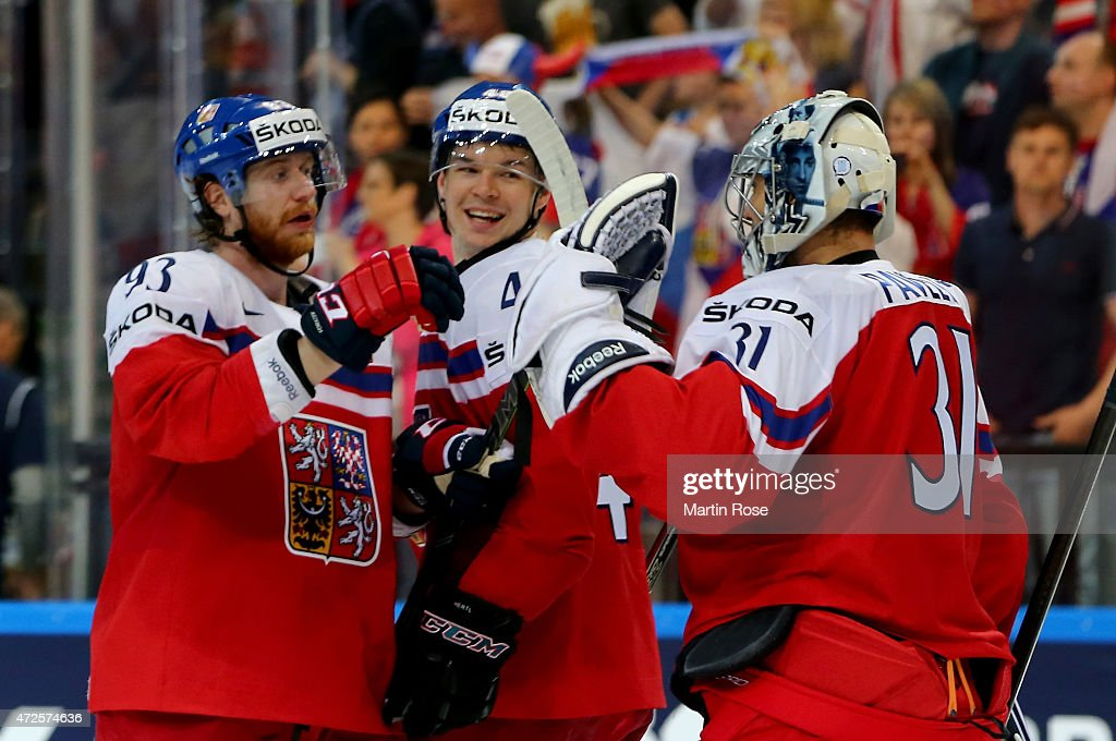 Jakub Voracek Tomas Hertl and goaltender Ondrej Pavelec of Czech Republic celebrate vicotry after the IIHF World Championship group A match between...