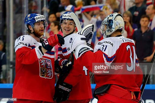 Jakub Voracek Tomas Hertl and goaltender Ondrej Pavelec of Czech Republic celebrate vicotry after the IIHF World Championship group A match between...