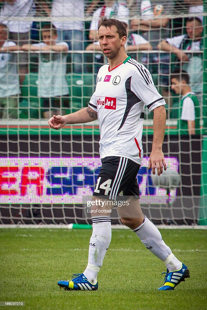 Jakub Wawrzyniak of Legia Warszawa in action during the Polish First Division between Legia Warszawa and KKS Lech Poznan held on May 18, 2013 at the Pepsi Arena in Warsaw, Poland.