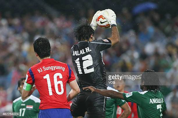 Jalal Hassan Hachim of Iraq secures the ball during the Asian Cup Semi Final match between Korea Republic and Iraq at ANZ Stadium on January 26 2015...