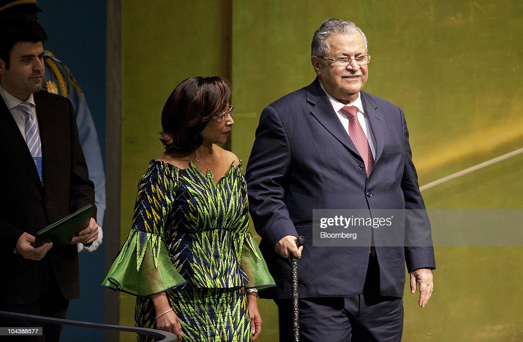 <a gi-track='captionPersonalityLinkClicked' href=/galleries/search?phrase=Jalal+Talabani&family=editorial&specificpeople=213582 ng-click='$event.stopPropagation()'>Jalal Talabani</a>, president of Iraq, arrives to speak during the 65th annual United Nations General Assembly at the UN in New York, U.S., on Thursday, Sept. 23, 2010. The General Debate portion of the General Assembly runs until Sept. 29. Photographer: Andrew Harrer/Bloomberg via Getty Images