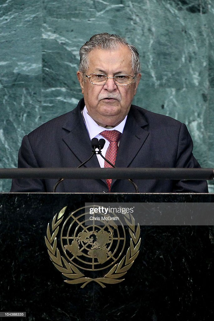 <a gi-track='captionPersonalityLinkClicked' href=/galleries/search?phrase=Jalal+Talabani&family=editorial&specificpeople=213582 ng-click='$event.stopPropagation()'>Jalal Talabani</a>, President of the Republic of Iraq addresses the 65th session of the General Assembly at the United Nations on September 23, 2010 in New York City. Leaders and diplomats from around the world are in New York City for the United Nations yearly General Assembly.